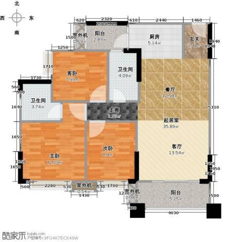 贝迪豪庭3室0厅2卫0厨96.00㎡户型图