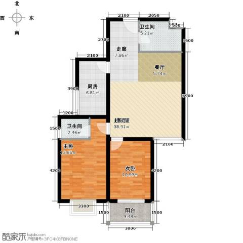 龙湖公馆2室0厅2卫1厨102.00㎡户型图