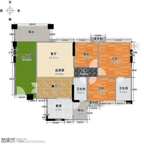 贝迪豪庭3室0厅2卫1厨106.00㎡户型图