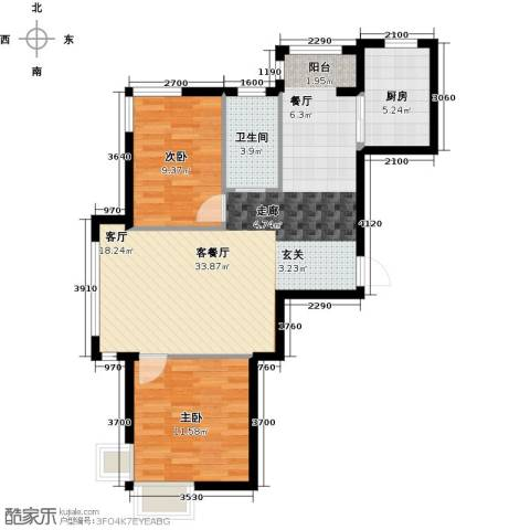蓝山国际2室1厅1卫1厨90.00㎡户型图