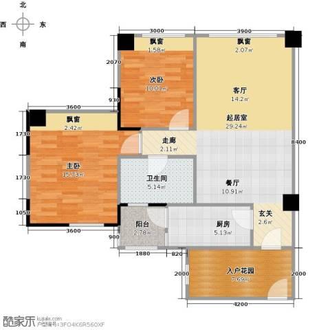 长兴99号公馆2室0厅1卫1厨87.00㎡户型图