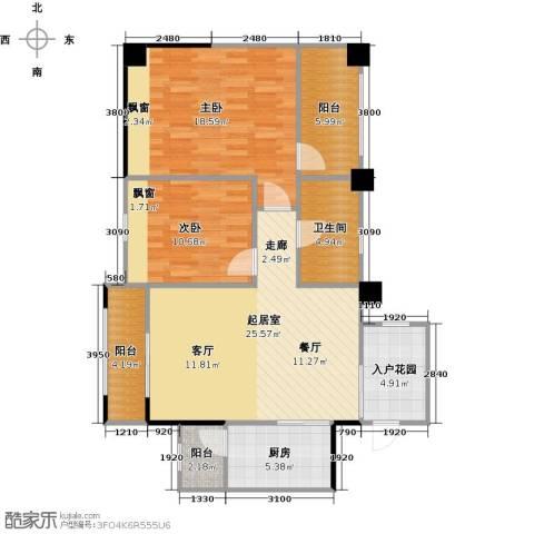长兴99号公馆2室0厅1卫1厨90.00㎡户型图