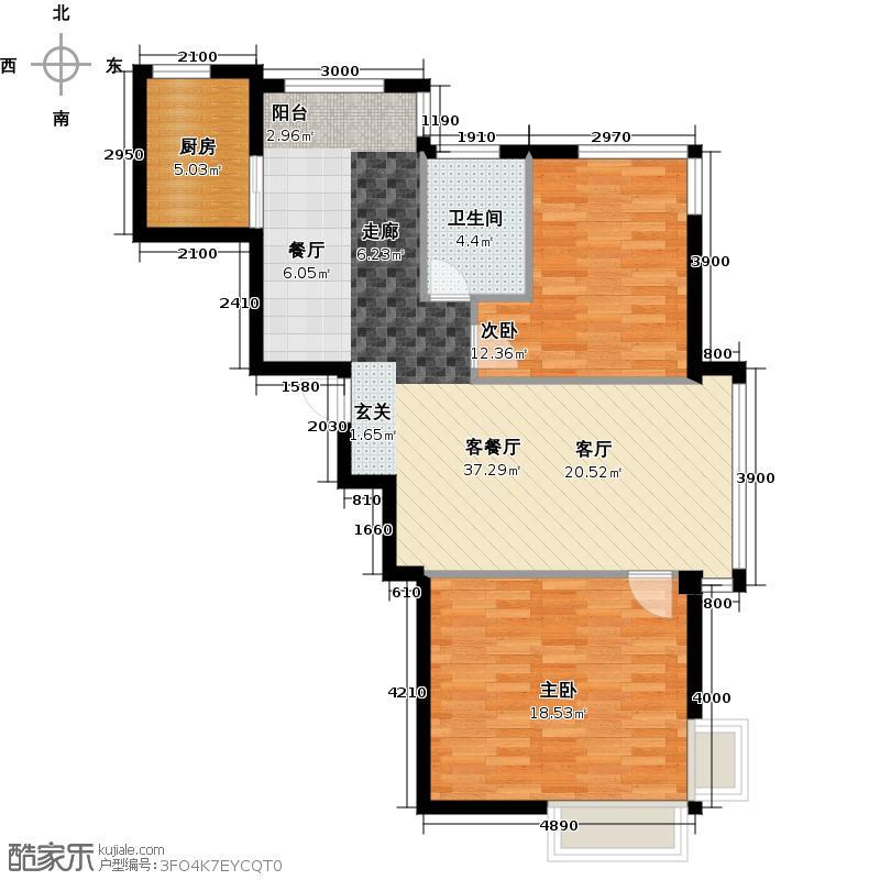 蓝山国际X户型2室1厅1卫1厨