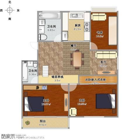 南洋花园3室1厅2卫1厨129.00㎡户型图