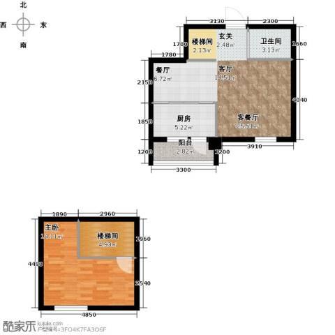 蓝山国际1室1厅1卫1厨80.00㎡户型图