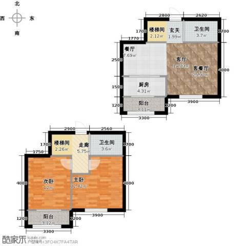 蓝山国际2室1厅2卫1厨105.00㎡户型图