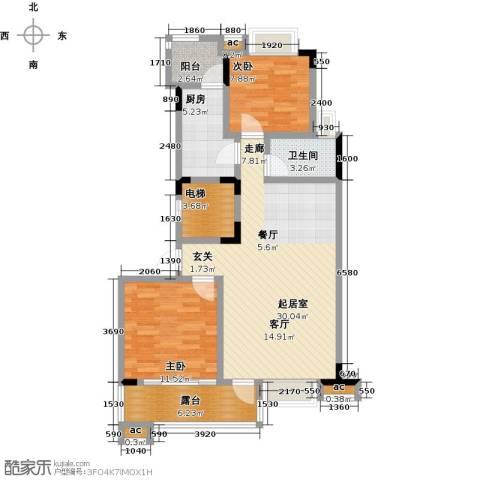 君山公馆2室0厅1卫1厨88.00㎡户型图