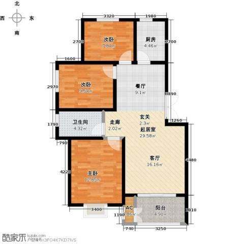 农房幸福小镇3室0厅1卫1厨105.00㎡户型图