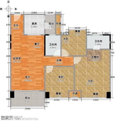 大自然广场3室0厅2卫1厨103.00㎡户型图