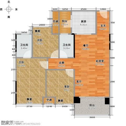 大自然广场3室0厅2卫1厨90.00㎡户型图