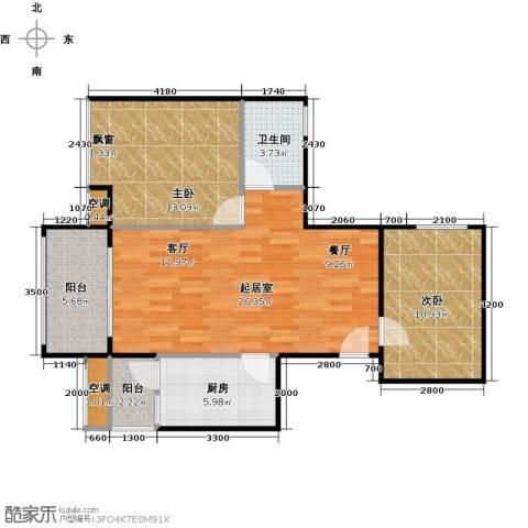 大自然广场2室0厅1卫1厨81.00㎡户型图