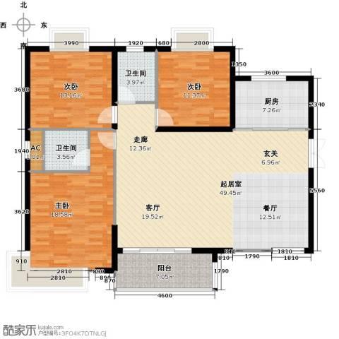 康城上品3室0厅2卫1厨138.00㎡户型图