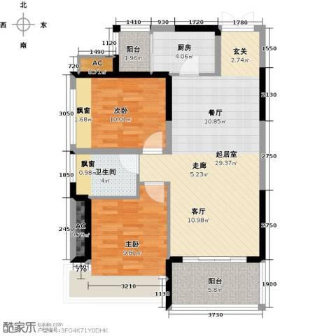 金沙世纪城2室0厅1卫1厨96.00㎡户型图