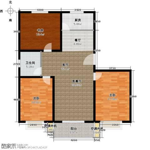恋日晴园3室1厅1卫1厨114.83㎡户型图