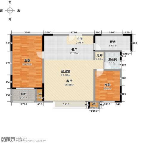 茂华国际汇2室0厅1卫1厨122.00㎡户型图