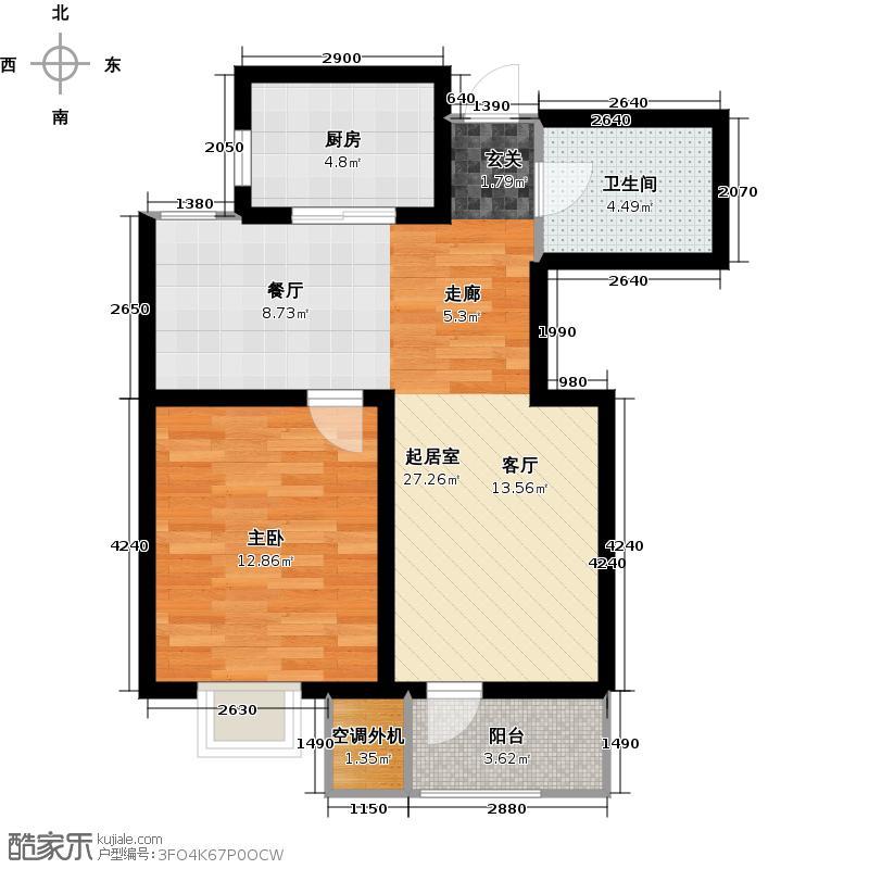 欧铂城80.20㎡自由季风户型1室2厅1卫