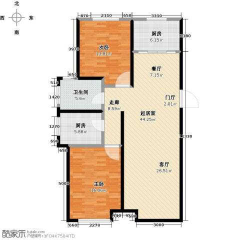 银海新城2室0厅1卫2厨127.00㎡户型图