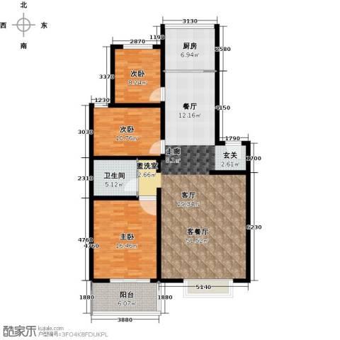 紫源京珠花园3室1厅1卫1厨119.00㎡户型图