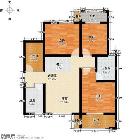 高新大都荟3室0厅2卫1厨124.00㎡户型图