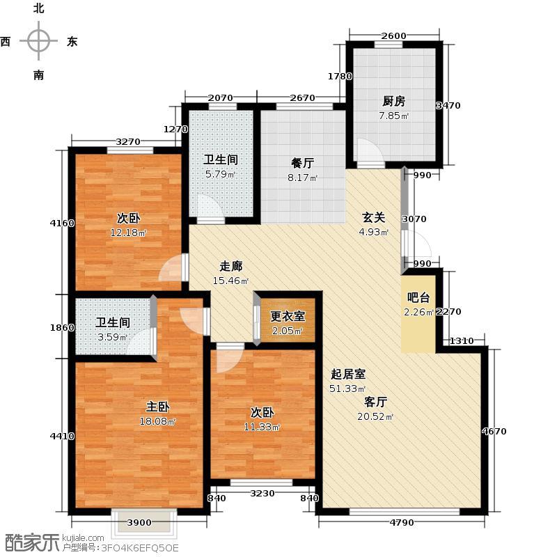 观澜国际146.90㎡A户型三居室户型3室2厅2卫