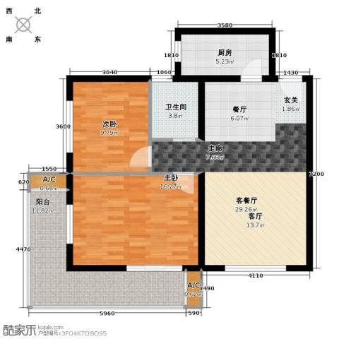 一等海2室1厅1卫1厨109.00㎡户型图
