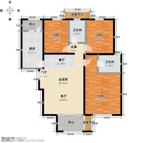 依水现代城3室0厅2卫1厨129.00㎡户型图