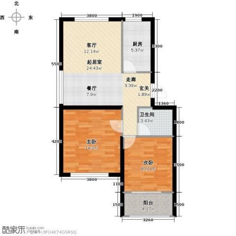 天福城2室0厅1卫1厨87.00㎡户型图