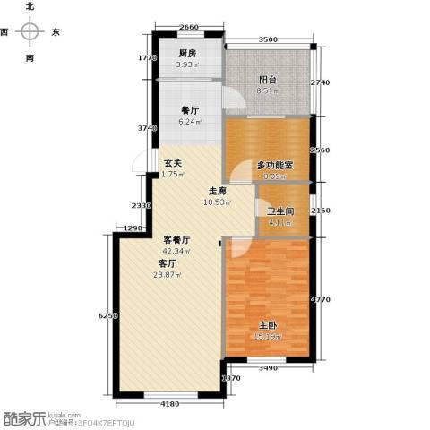 欧韵华庭1室1厅1卫1厨92.00㎡户型图