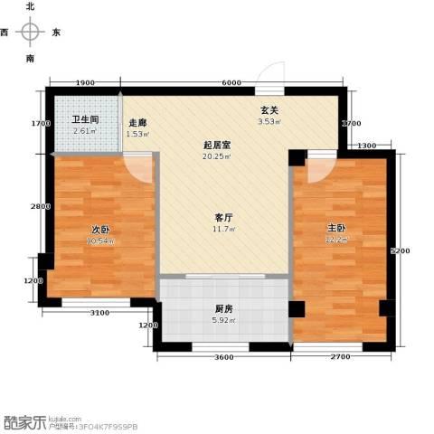 蓝山国际2室0厅1卫1厨73.00㎡户型图