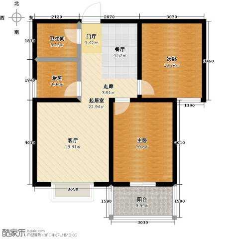 水岸金城2室0厅1卫1厨78.00㎡户型图