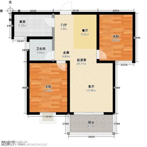 水岸金城2室0厅1卫1厨85.00㎡户型图