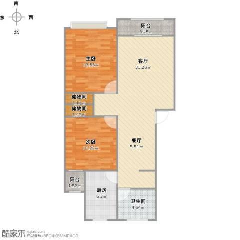 德乐苑2室1厅1卫1厨99.00㎡户型图