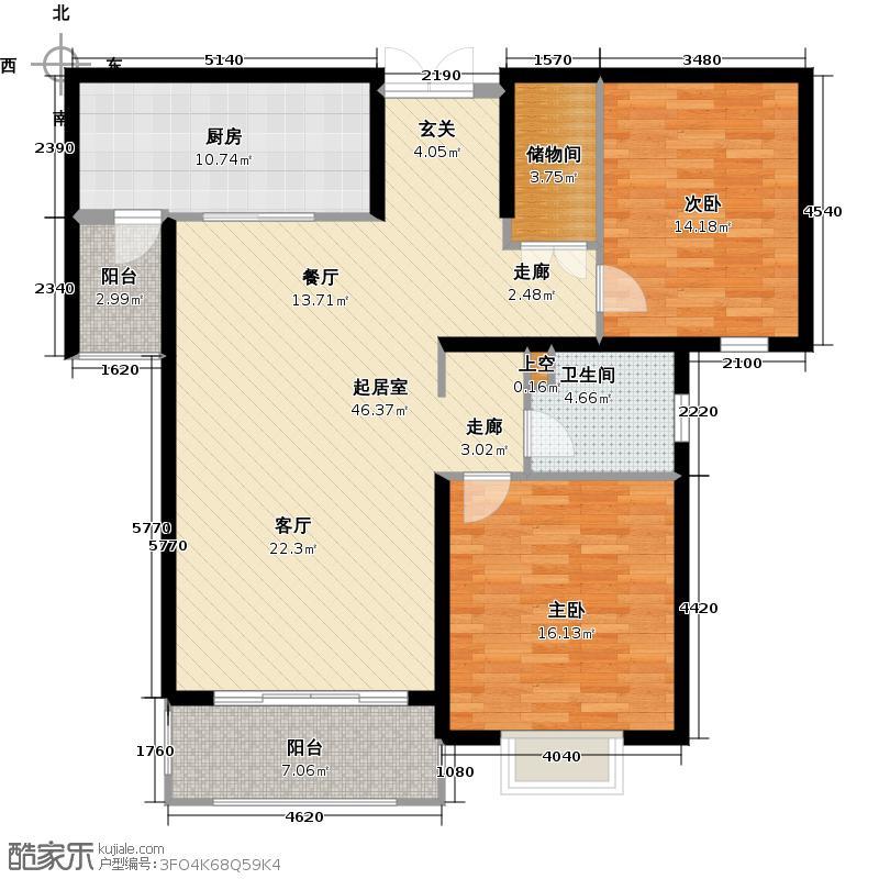世茂锦绣长江119.02㎡3-2-2户型两室两厅一卫户型QQ