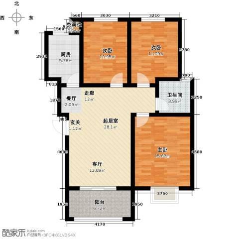 水岳・蓝山3室0厅1卫1厨119.00㎡户型图