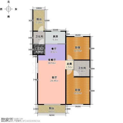 华海城1厅2卫1厨126.00㎡户型图