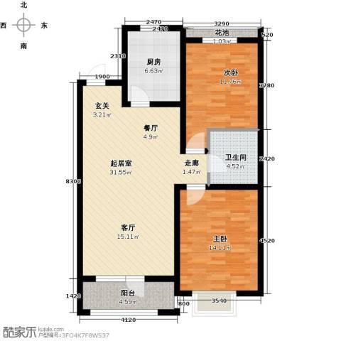 江南华府2室0厅1卫1厨106.00㎡户型图
