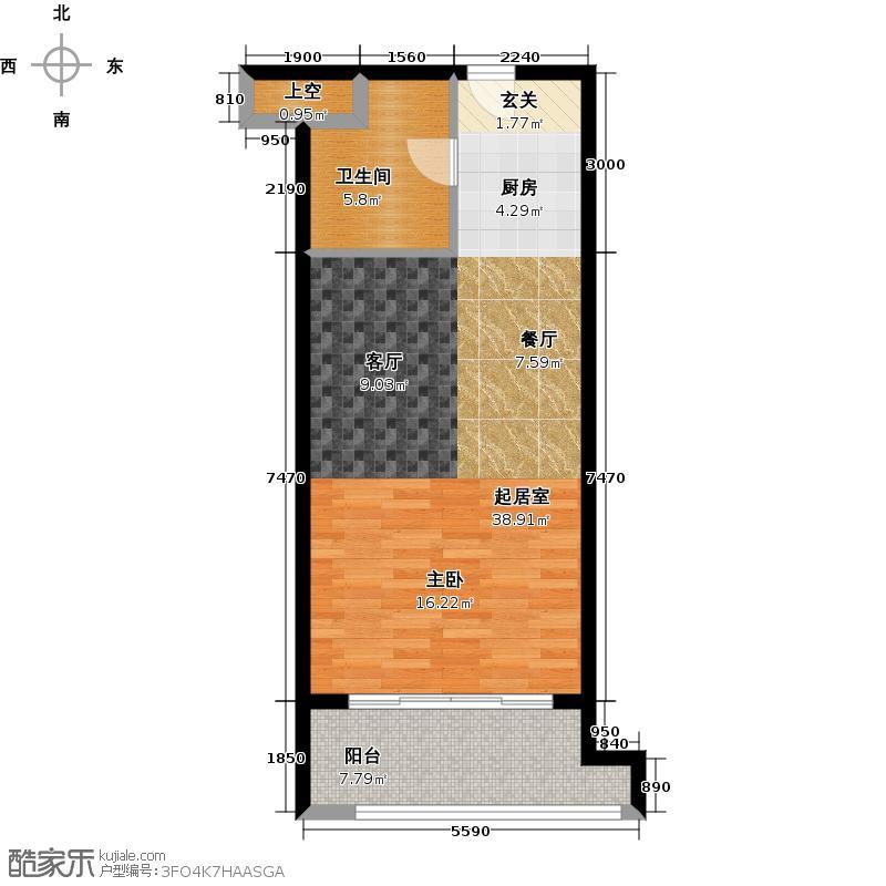 月星国际60.00㎡住宅A户型1室1厅1卫