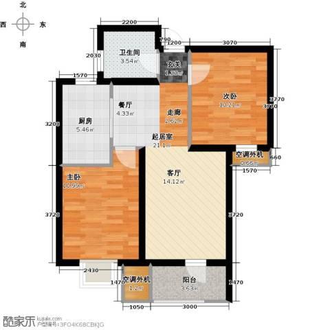 欧铂城2室0厅1卫1厨91.00㎡户型图