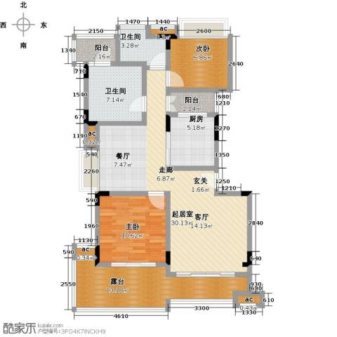 君山公馆2室0厅2卫1厨98.00㎡户型图
