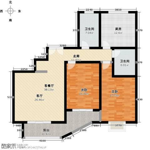 紫麟苑2室1厅2卫1厨157.00㎡户型图