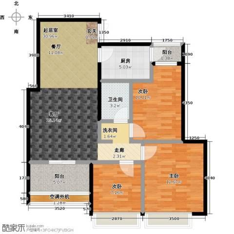 紫金华府3室0厅1卫1厨91.00㎡户型图