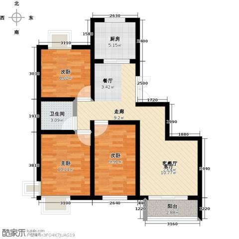 紫麟苑3室1厅1卫1厨93.00㎡户型图