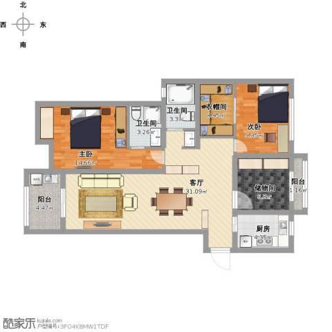 阳光龙庭别墅2室1厅2卫1厨120.00㎡户型图
