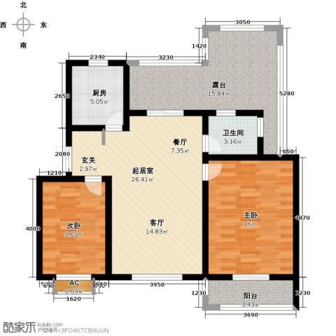 加州玫瑰园2室0厅1卫1厨92.00㎡户型图