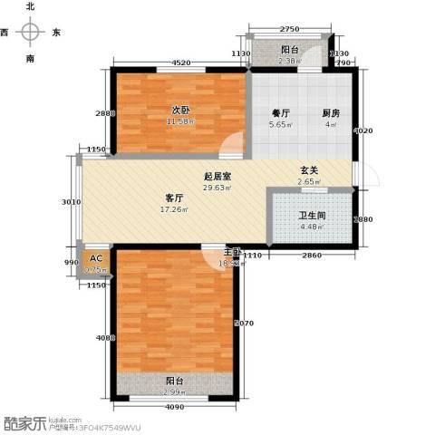 大树花园2室0厅1卫0厨76.00㎡户型图