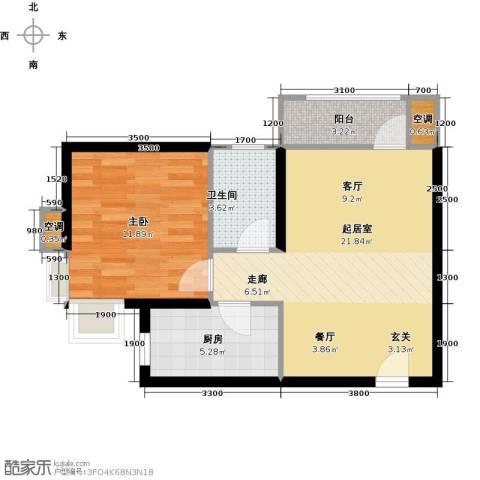 欧铂城1室0厅1卫1厨66.00㎡户型图