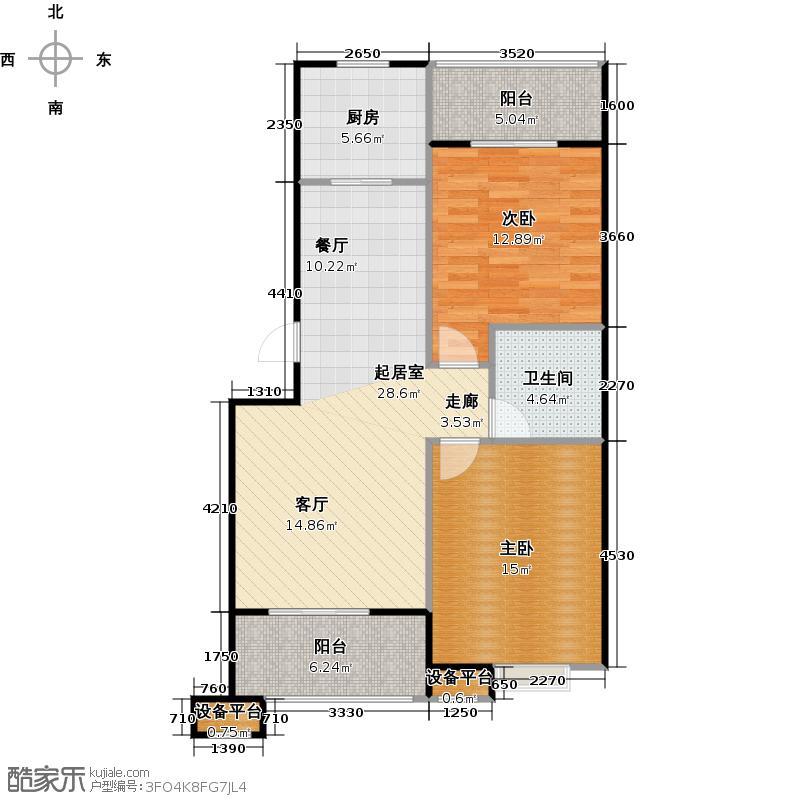 蔚海新天地89.80㎡LD5户型2室2厅1卫