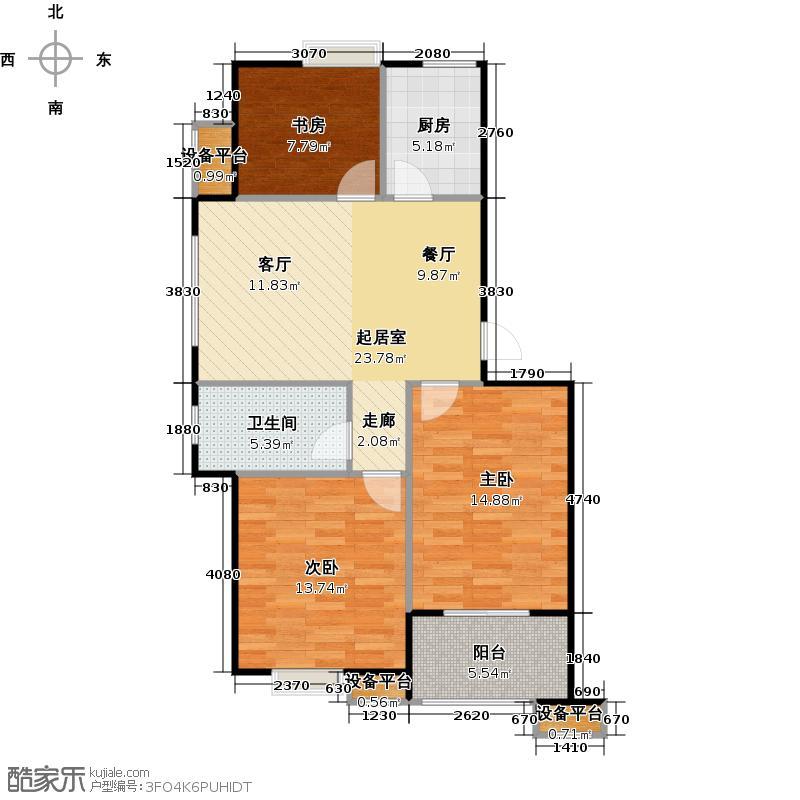 蔚海新天地86.00㎡WD1户型3室2厅2卫