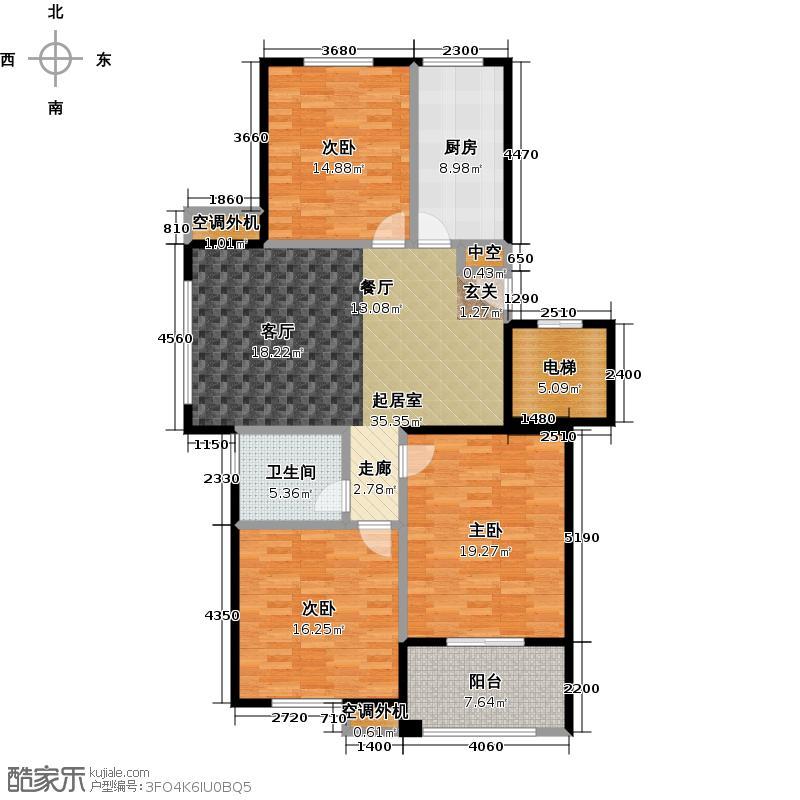 鲁发名城128.00㎡鲁发名城35、36号楼东西山K户型3室2厅2卫户型3室2厅2卫