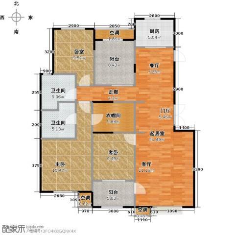 孔雀城大湖2室0厅2卫1厨154.00㎡户型图